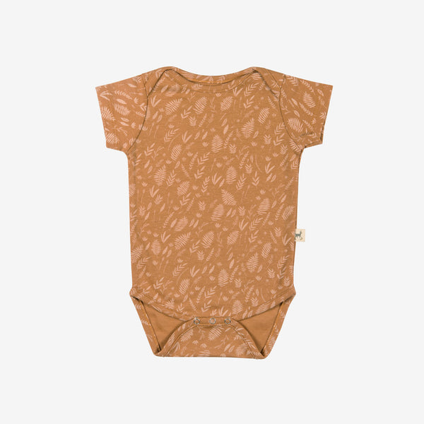 Foliage Short-sleeve Onesie - terracotta