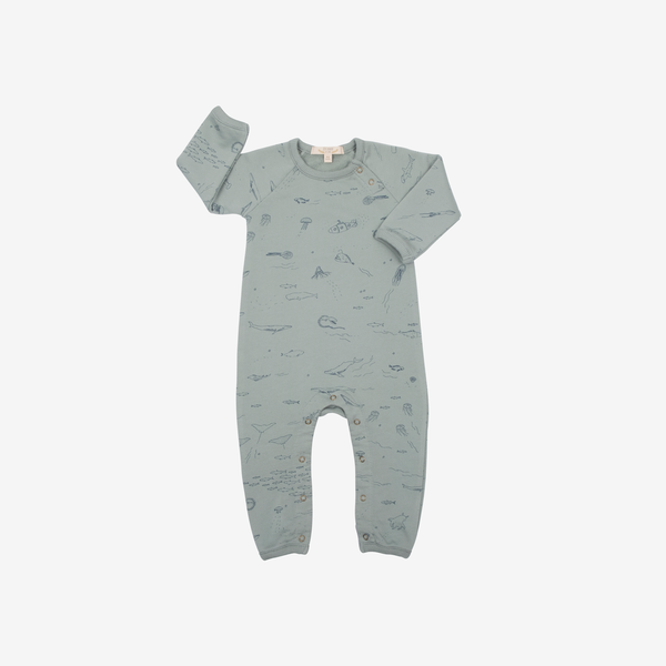 Pima Cotton French Terry Jumpsuit - The Ocean Story in Chinoise Green