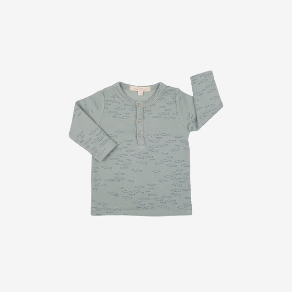 Pima Cotton Rib L/S Henley - Schooling Fish in Chinoise Green