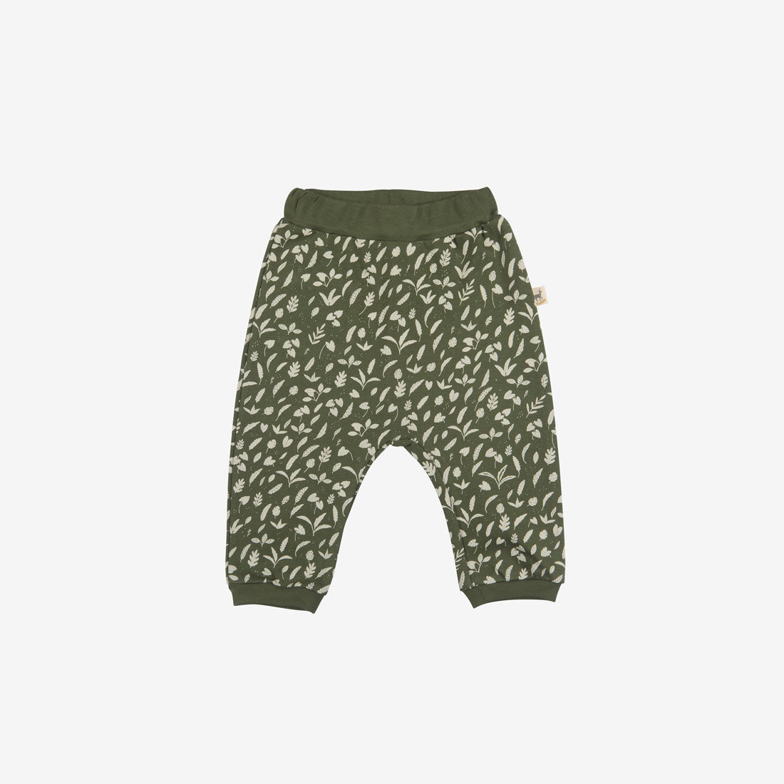 Rainforest Foliage Organic Pima Baggy Baby Pants - Chive