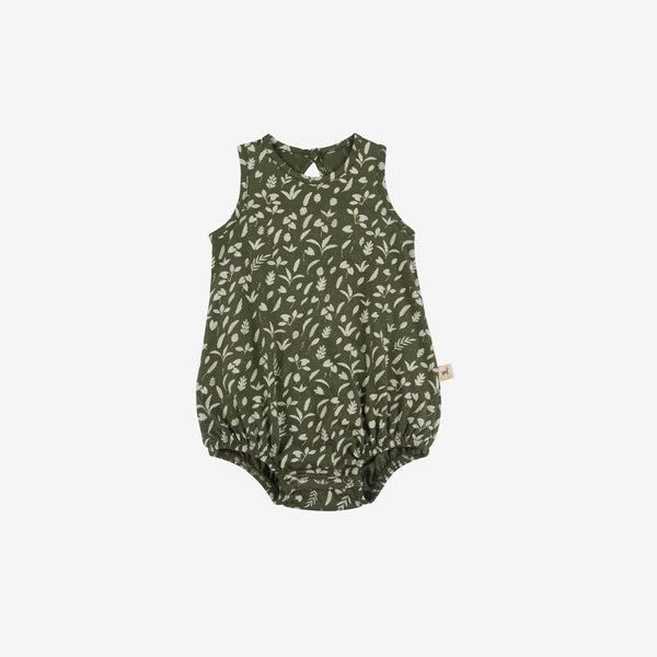Rainforest Foliage Organic Pima Baggy Onesie - Chive