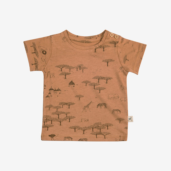 Serengeti Round-neck T-shirt - Terracotta