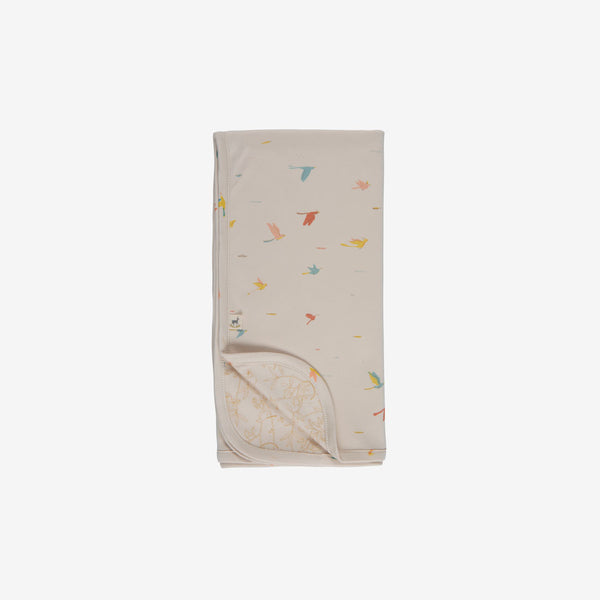 Tropical Birds Double-sided Organic Pima Blanket - Pink Tint