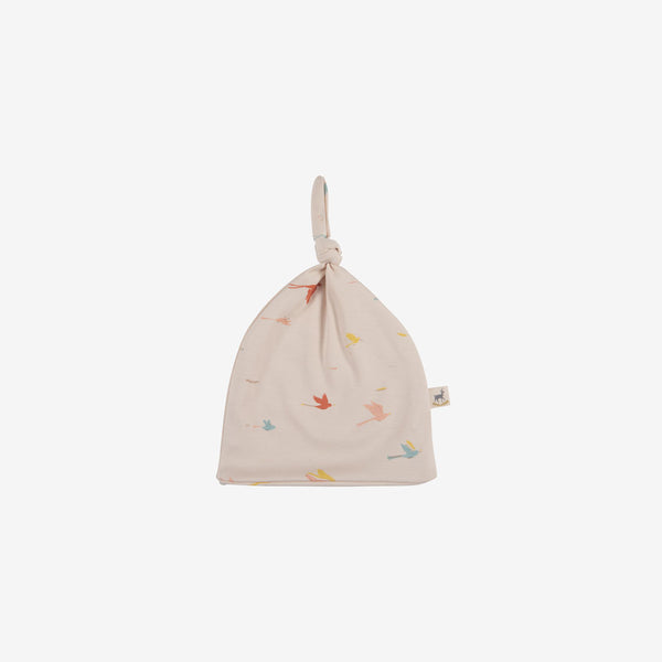 Tropical Birds Knotted Beanie - Pink Tint