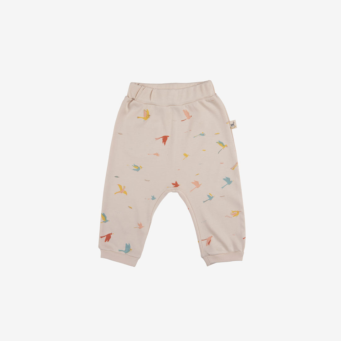 Tropical Birds Organic Pima Baggy Baby Pants - Pink Tint