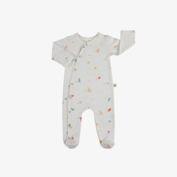 Tropical Birds Organic Pima Footed Jumpsuit - Eco-White