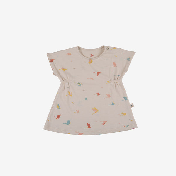 Tropical Birds Organic Pima Jersey Baby Dress - Pink Tint