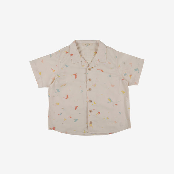 Tropical Birds Organic Pima Woven Button-down - Pink Tint