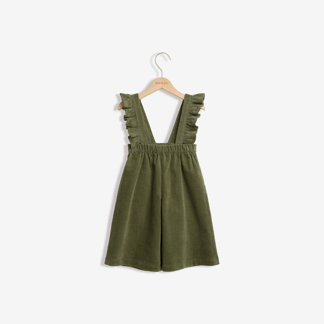 Cotton Corduroy Culotte with Ruffle Suspenders