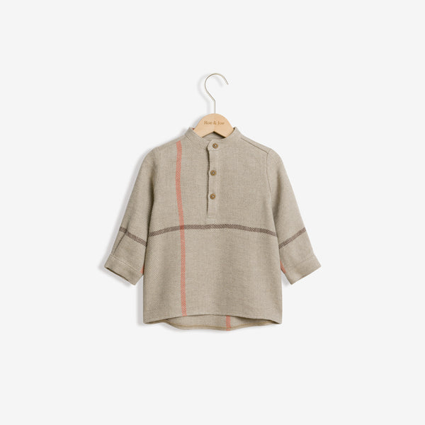Linen Blend Woven Shirt - Mix Checks