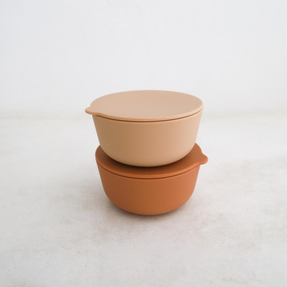 Silicone Bowls Set of 2 - Cinnamon + Latte