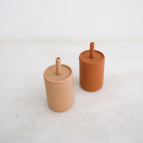 Silicone Cups Set of 2 - Cinnamon + Latte