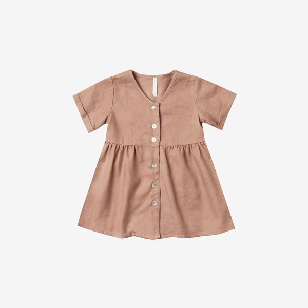 Jeanette Linen/Tencel Baby Dress - Truffle
