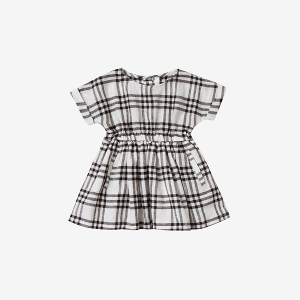 Kat Linen/Cotton Dress - Black Check