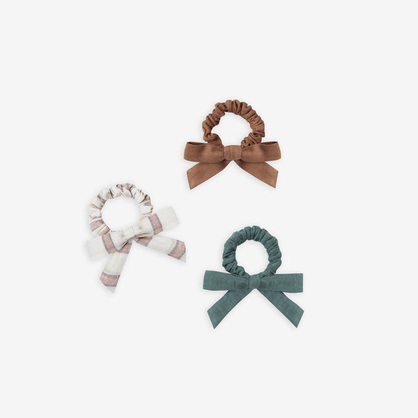 Little Bow Scrunchie Set - Caramel/Stripe/Spruce