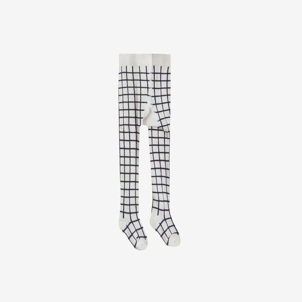 Organic Rib Cotton Tights - Black Check