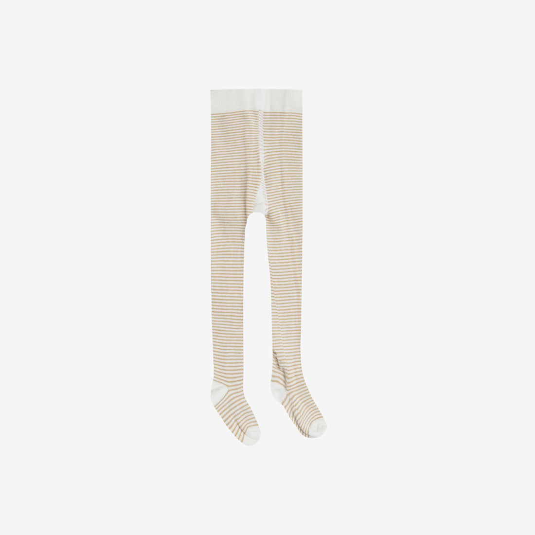Organic Rib Cotton Tights - Honey Stripe