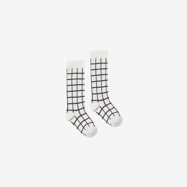 Organic Rib Knee Socks - Black Check