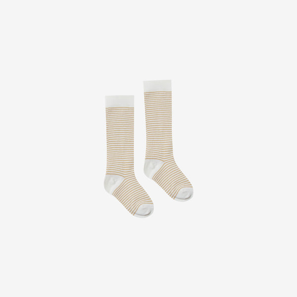 Organic Rib Knee Socks - Honey Stripe