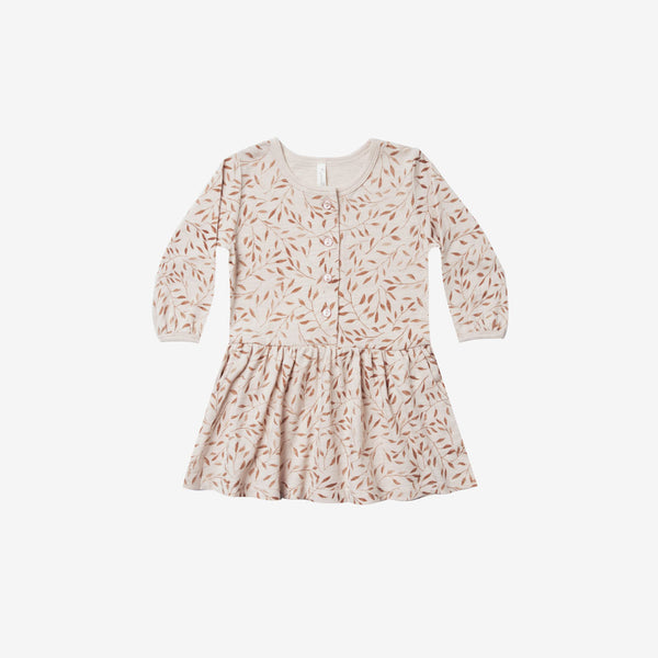 Slub Jersey Button-up Dress - Wheat Vines