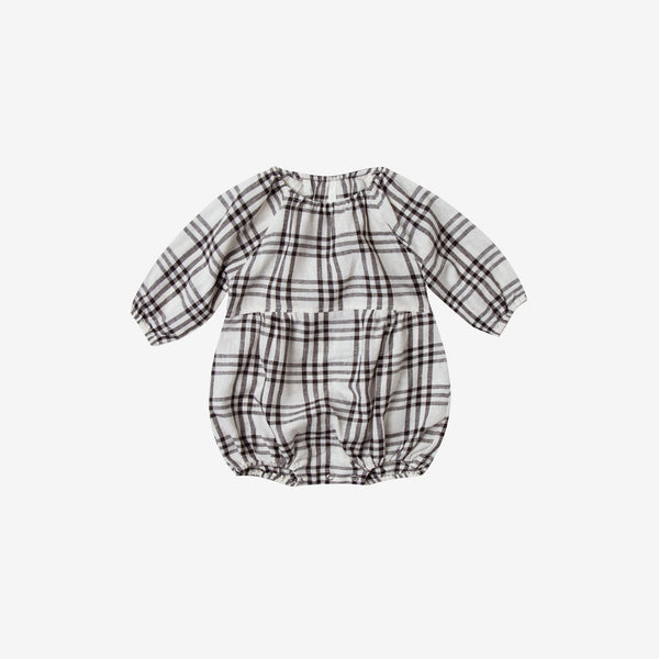 Soft Linen/Cotton Bubble Onesie - Black Check