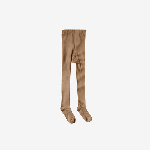 Solid Rib Cotton Tights - Caramel