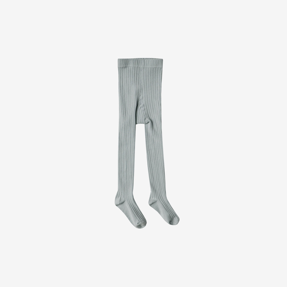 Solid Rib Cotton Tights - Dusty Blue