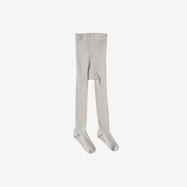 Solid Rib Cotton Tights - Grey
