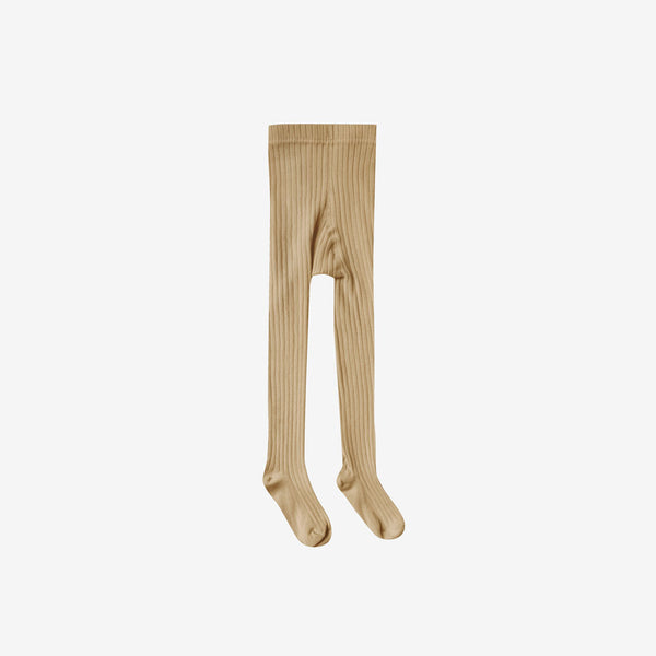 Solid Rib Cotton Tights - Honey
