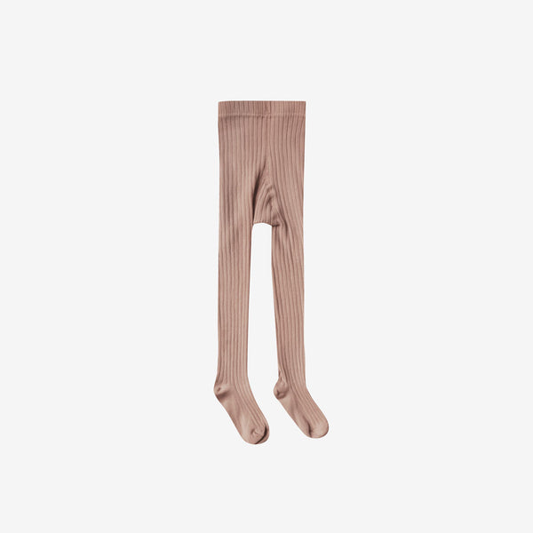 Solid Rib Cotton Tights - Truffle