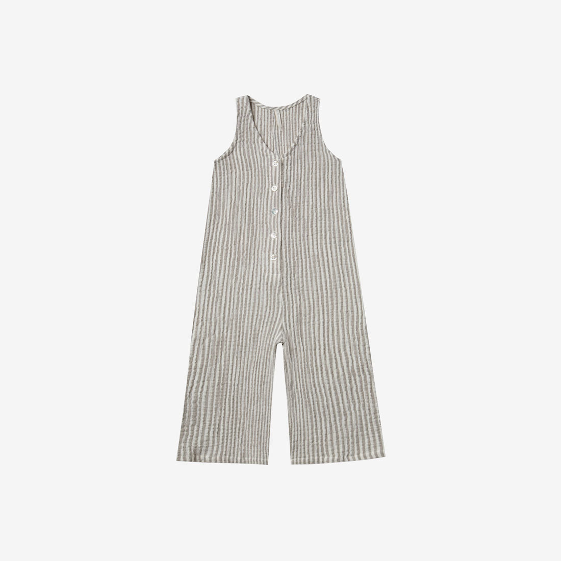 Bridgette Cotton Woven Crepe Jumpsuit - Olive Stripe