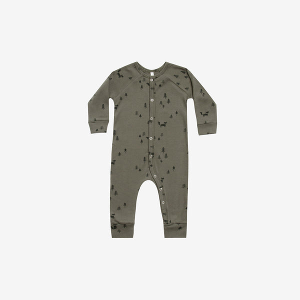 Organic Cotton Long John Romper - Forest