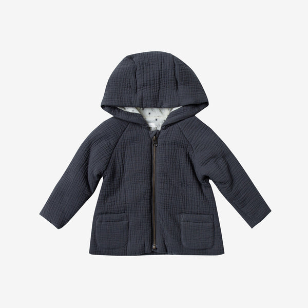 Cotton Crepe Hooded Jacket - Midnight
