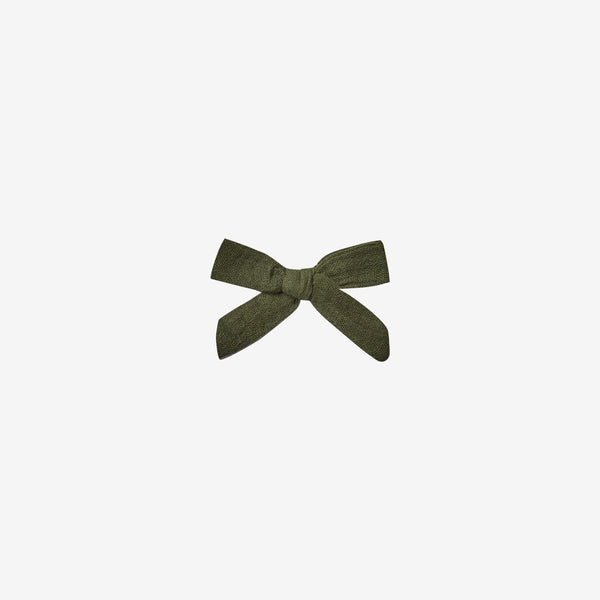 Cotton Woven Hair Bow Clip - Forest
