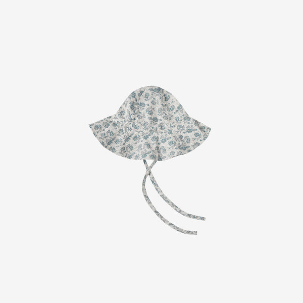 Floppy Sun Hat - Blue Roses on Ivory