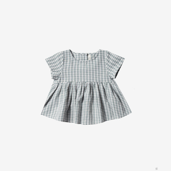 Jane Linen/Cotton Woven Blouse - Sea Gingham