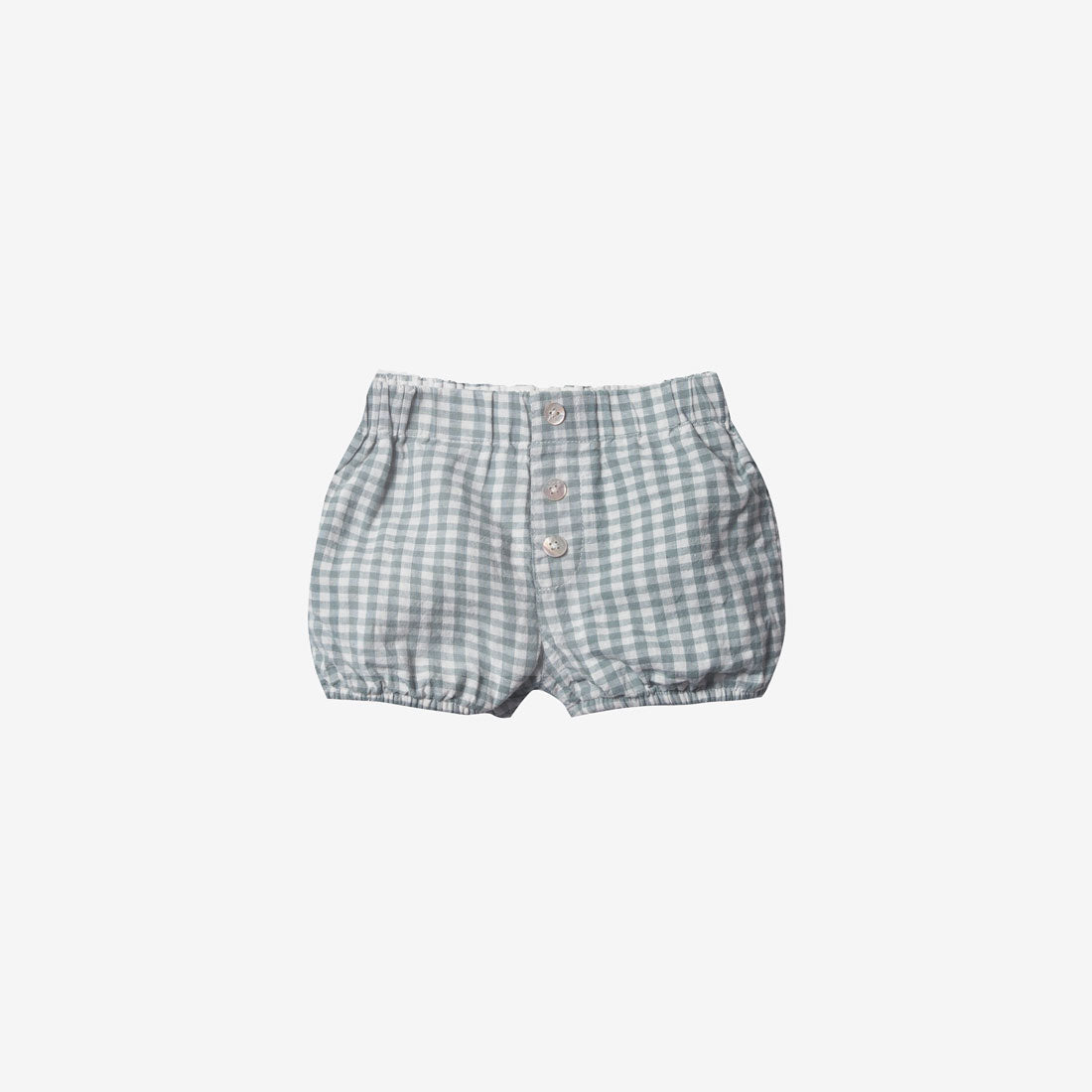 Linen/Cotton Button Short - Sea Gingham