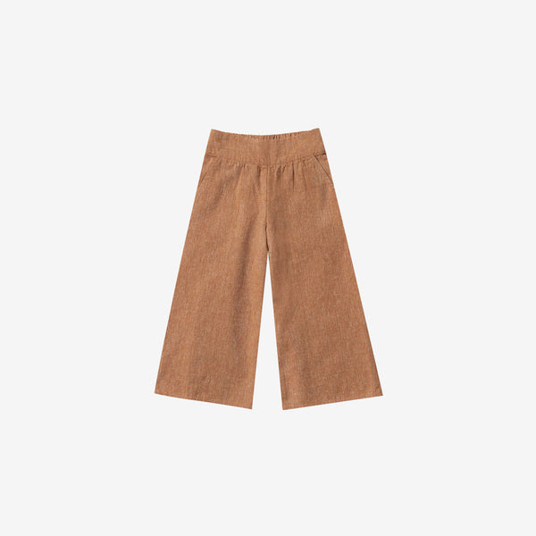 Linen/Cotton Wide Leg Pant - Bronze