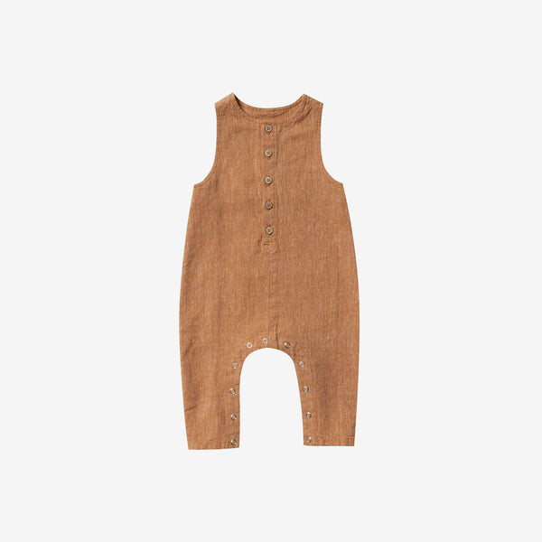 Linen/Cotton Button-front Overall Jumpsuit - Bronze