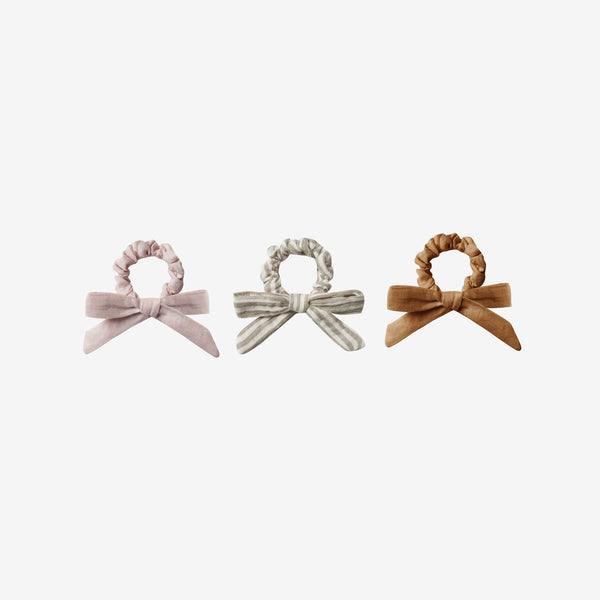 Little Bow Scrunchie Set - Lilac/Stripe/Bronze