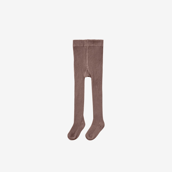 Organic Cotton Rib Tights - Wine
