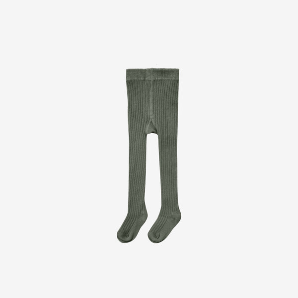 Organic Cotton Rib Tights - Forest