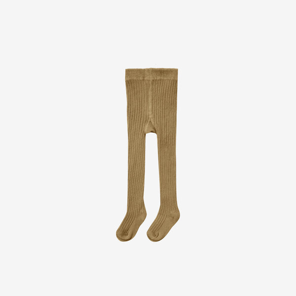 Organic Cotton Rib Tights - Goldenrod