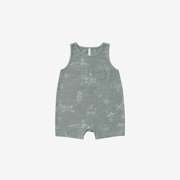 San Diego Cotton Jersey Tank Romper - Sea