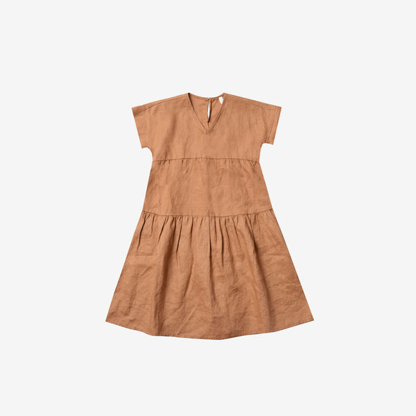 Vienna Linen/Cotton Tiered Dress - Bronze