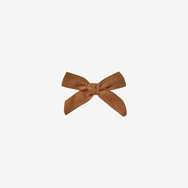Cotton Woven Hair Bow Clip - Cinnamon