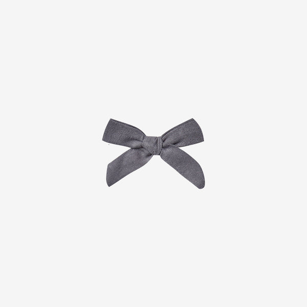 Cotton Woven Hair Bow Clip - Washed Indigo