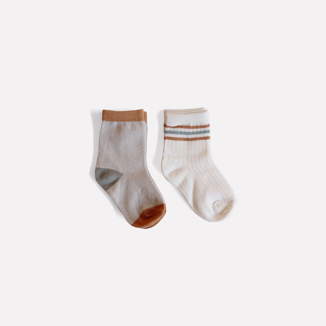 Organic Classic Crew Socks - Bronze & Sea Stripe Set