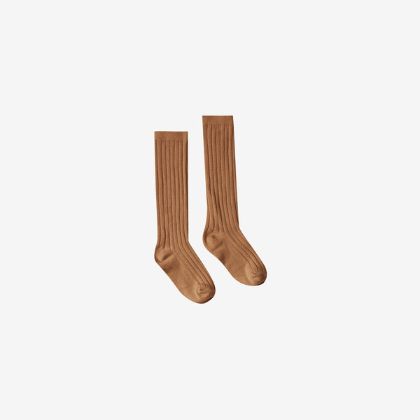 Organic Rib Knee Socks - Bronze