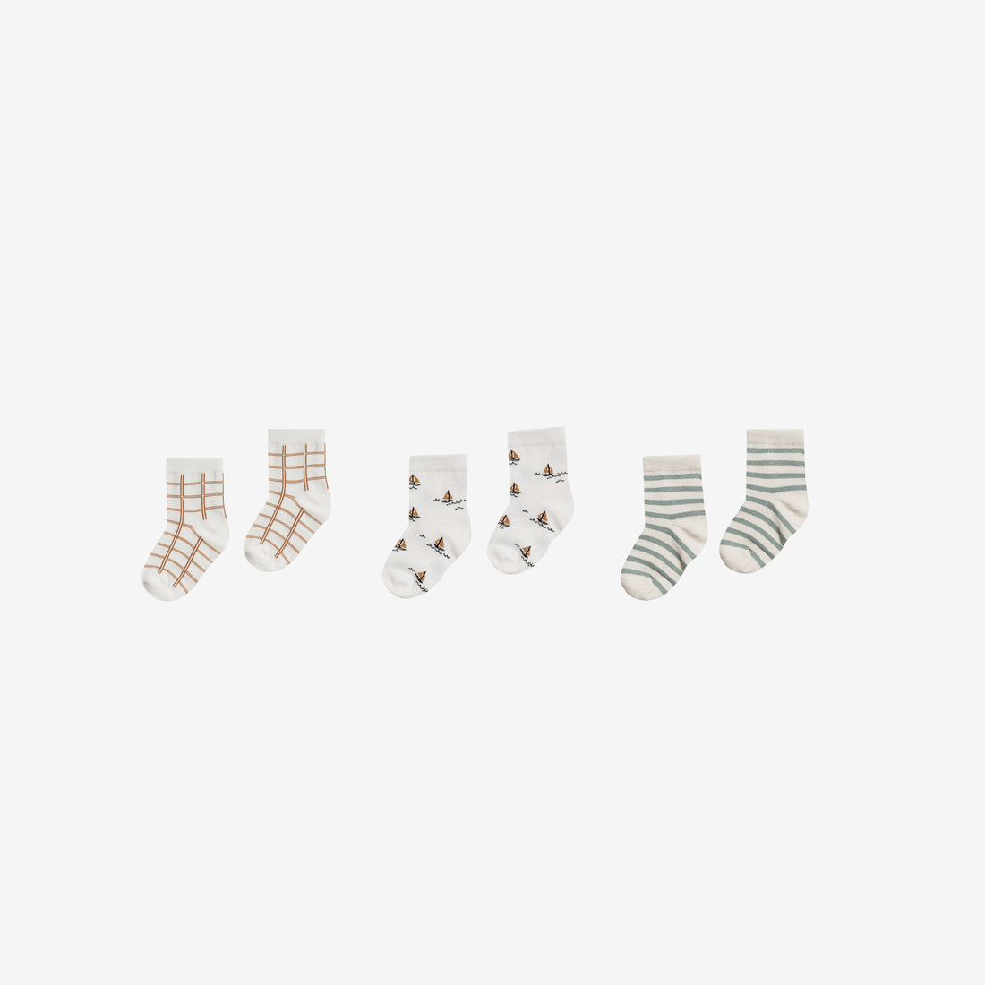 Organic Ankle Sock Set - Grid/Sailboat/Stripe